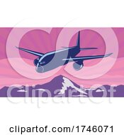 Jumbo Jet Plane Or Airplane Flying Over Mountains With Sunburst Done In WPA Poster Art Style