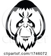 Head Of An Adult Male Orangutan With Distinctive Cheek Pads Or Flanges Front View Mascot Retro Style