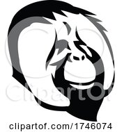 Head Of A Smiling Adult Male Orangutan With Distinctive Cheek Pads Or Flanges Side View Mascot Retro Style
