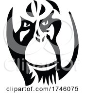 Head Of An Angry Adult Male Orangutan With Distinctive Cheek Pads Or Flanges Side View Mascot Retro Style