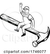 06/10/2021 - Carpenter Builder Or Handyman Sitting On A Hammer Waving Hello Done In Retro Cartoon Style