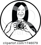 Female Photographer Holding A DSLR Camera Smiling Viewed From Front Set Inside Circle Black And White Retro Style