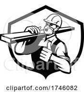 Carpenter Wearing Particulate Respirator Carrying Lumber With Thumbs Up Set In Shield Retro Style