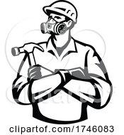 06/10/2021 - Builder Carpenter Wearing Mask Respirator Gas Vapor Cartridges Arms Crossed Holding Hammer Retro Retro Style