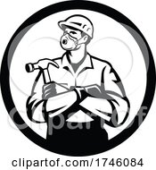 06/10/2021 - Builder Carpenter Wearing N95 Particulate Respirator With Arms Crossed Holding Hammer Inside Circle Retro Style