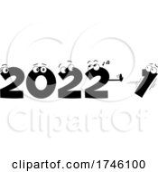 New Year 2022 Numbers Pushing Out The 1 Black And White