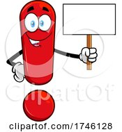 Exclamation Point Character Holding A Blank Sign