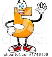 Cartoon Number 5 Character Gesturing Five