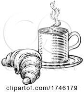 Poster, Art Print Of Coffee Tea Cup Mug And Croissant Woodcut
