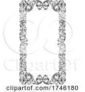 Poster, Art Print Of Filigree Heraldry Leaf Pattern Floral Border Frame