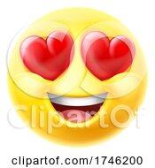 Poster, Art Print Of Love Hearts Eyes Emoticon Emoji Cartoon Icon