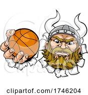Poster, Art Print Of Viking Basketball Ball Sports Mascot Cartoon