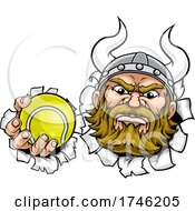 Poster, Art Print Of Viking Tennis Ball Sports Mascot Cartoon