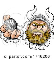 Poster, Art Print Of Viking Golf Ball Sports Mascot Cartoon