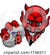 Devil Gamer Video Game Controller Mascot Cartoon