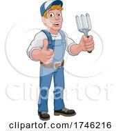 Gardener Garden Fork Tool Handyman Cartoon Man