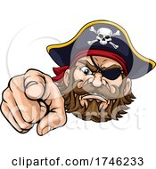Pirate Captain Cartoon Character Mascot Pointing