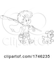 Dog And Boy Walking With A Fishing Pole