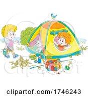 Dog And Boys Camping