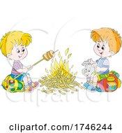 Dog And Boys Roasting Food At A Campfire