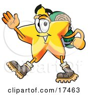 Star Mascot Cartoon Character Hiking And Carrying A Backpack