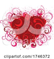 Red Floral Heart With Vines And Grunge