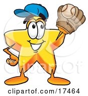 Clipart Picture Of A Star Mascot Cartoon Character Catching A Baseball With A Glove by Toons4Biz