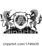 Poster, Art Print Of Coat Of Arms Horse Unicorn Crest Lion Shield Seal