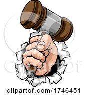 Fist Hand Holding Judge Hammer Gavel Cartoon