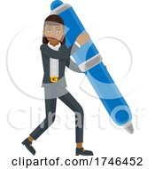 Asian Business Woman Holding Pen Mascot Concept by AtStockIllustration