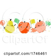 Kawaii Pear Apple And Peach Celebrating Joyful Holiday