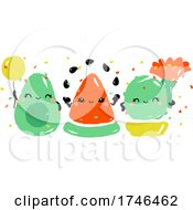 Kawaii Avocado Watermelon and Cactus Celebrating Joyful Holiday by elena #COLLC1746462-0147