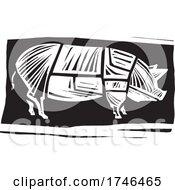 Woodcut Butchers Hog Diagram