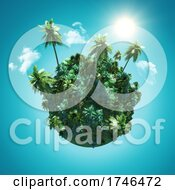 06/15/2021 - 3D Landscape With A Palm Tree Globe On Blue Sky With Clouds