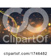 Abstract Background With Flowing Lines And Bokeh Lights Design