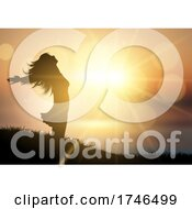 Poster, Art Print Of Happy Female Against A Sunset Landscape
