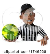 Poster, Art Print Of 3d Black Male Referee On A White Background