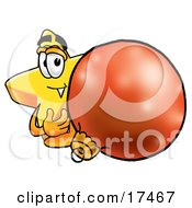 Clipart Picture Of A Star Mascot Cartoon Character Standing With A Christmas Bauble