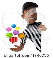 3d Black Male Referee On A White Background