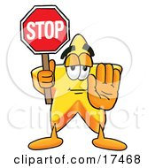 Star Mascot Cartoon Character Holding A Stop Sign