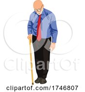 Poster, Art Print Of Senior Man With A Cane