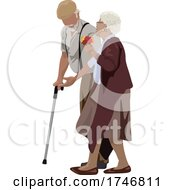 Poster, Art Print Of Senior Couple Walking And The Man Using A Cane