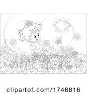 Black And White Girl Watering Her Flower Garden