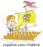 Pirate Boy Steering A Raft