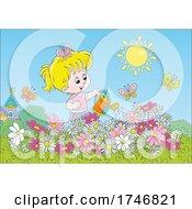 Girl Watering Her Flower Garden