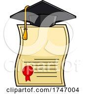 Poster, Art Print Of Graduation Cap On A Diploma