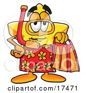 Star Mascot Cartoon Character In Orange And Red Snorkel Gear