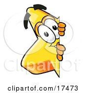 Star Mascot Cartoon Character Peeking Around A Corner