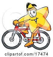 Clipart Picture Of A Star Mascot Cartoon Character Riding A Bicycle