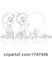 Puppy And Boys Mushroom Hunting